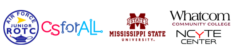 Logos for Air Force JROTC, CSforALL Mississippi State, and the Whatcom Community College NYCyTE Center