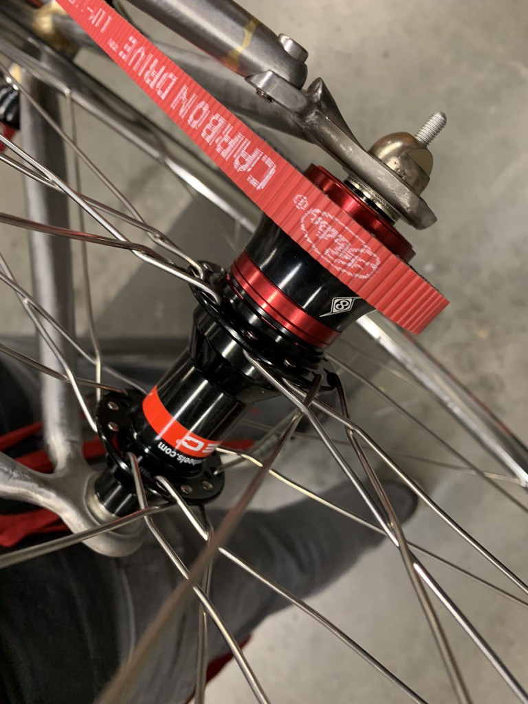 The rear hub of a bicycle