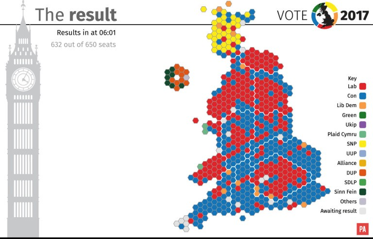UK general election 2017 results presented as a hex bin map