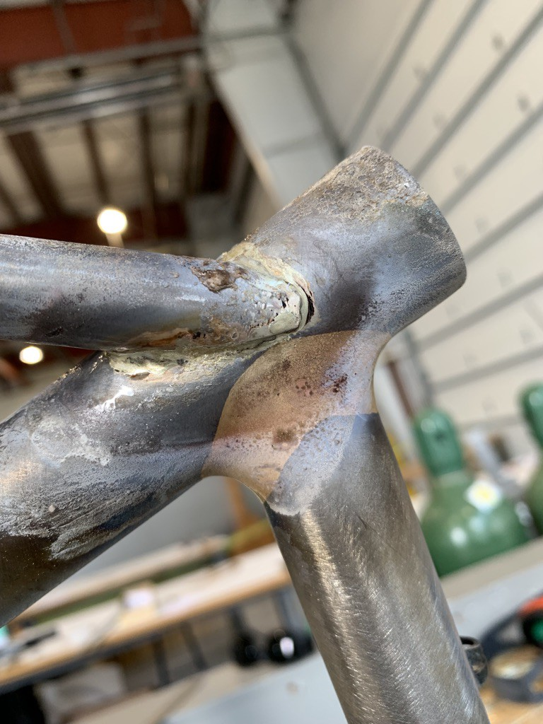 A bicycle frame with a seatstay welded to it