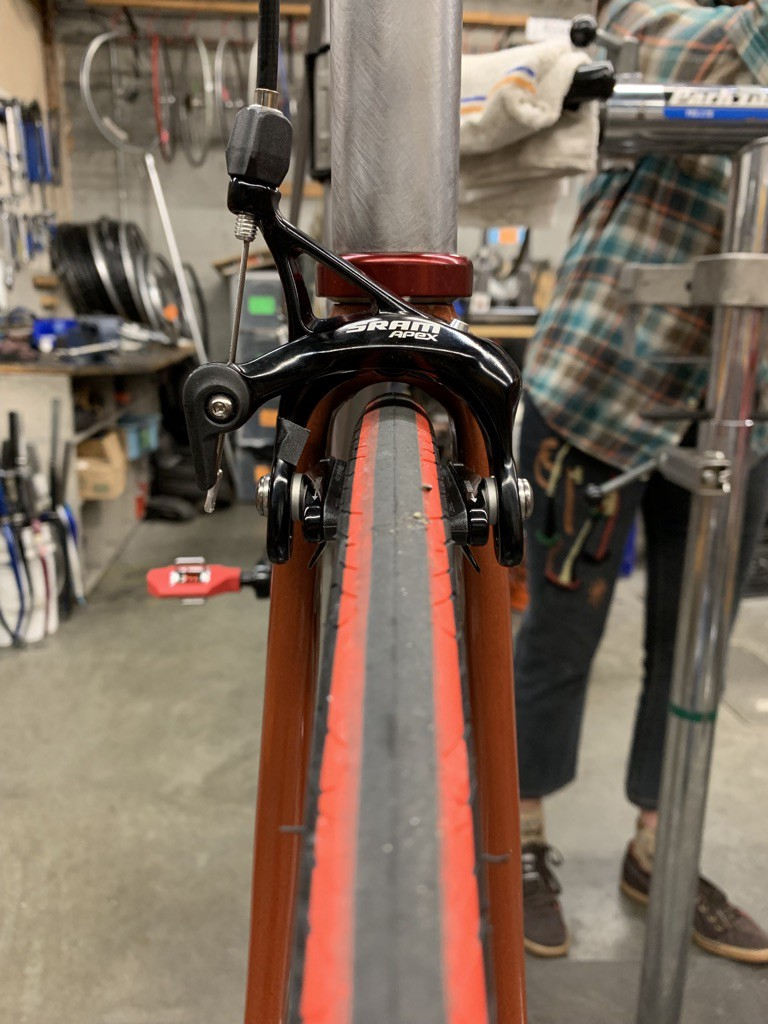 The front brake of a bicycle