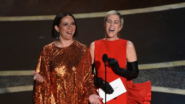 Maya Rudolph and Kristen Wiig perform a painful comedy sketch at the Oscars 2020