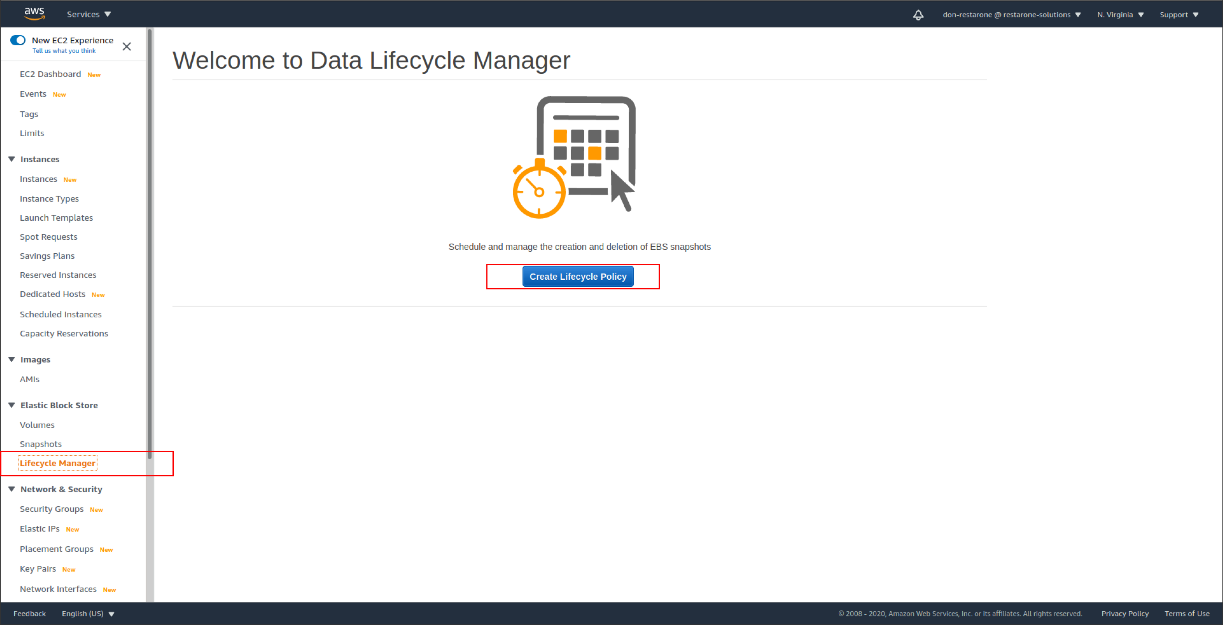 screenshot showing the words Welcome to Data Lifecycle Manager and the selection Create Lifecycle Policy