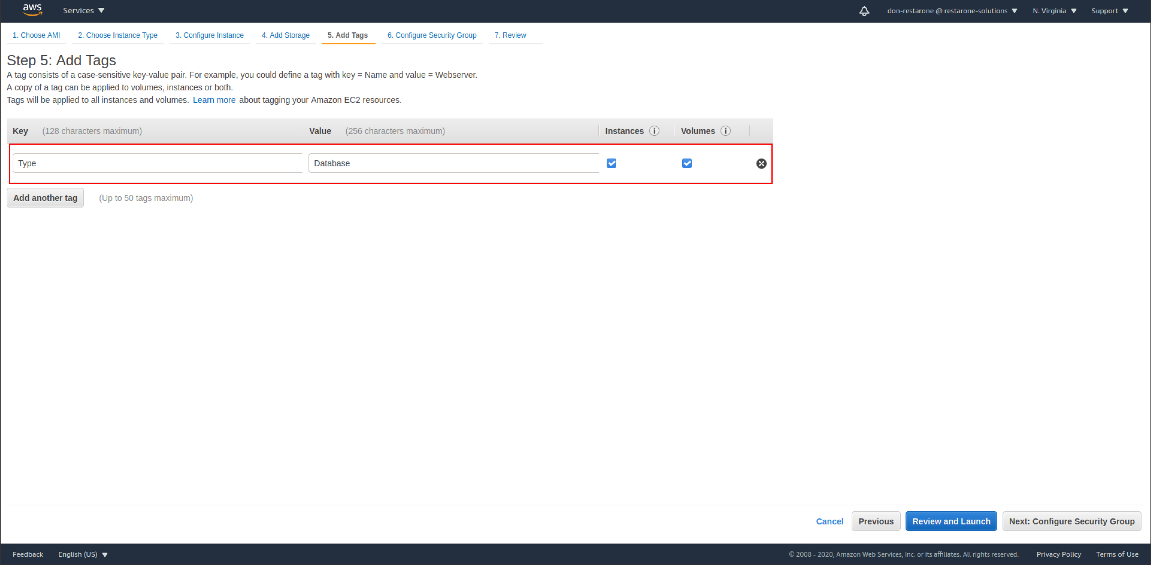 screenshot: step 5. add tags with the key set to type and the value set to database