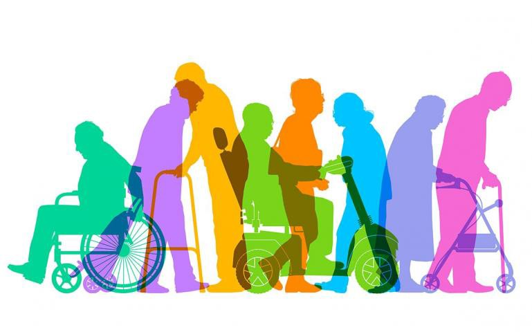 Silhoutte of different persons with disabilities