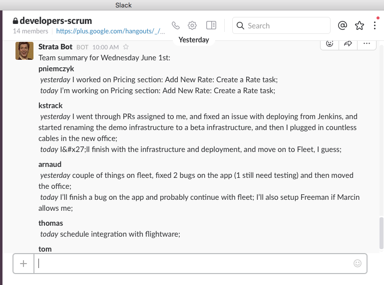 How Slack and Hangouts have improved our daily scrums