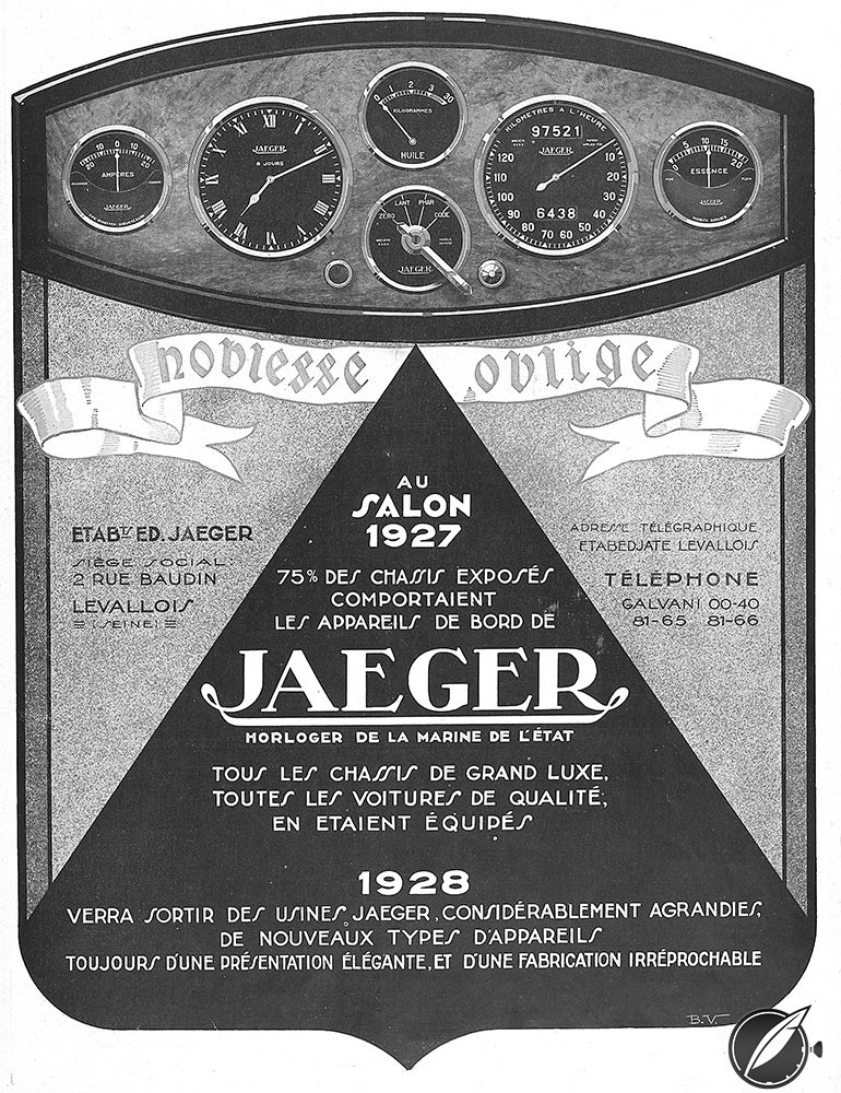 "1927 ""noblesse oblige"" advertisement for Jaeger automobile instruments"