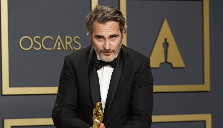Joaquin Phoenix accepts his award for best actor at the Oscars 2020