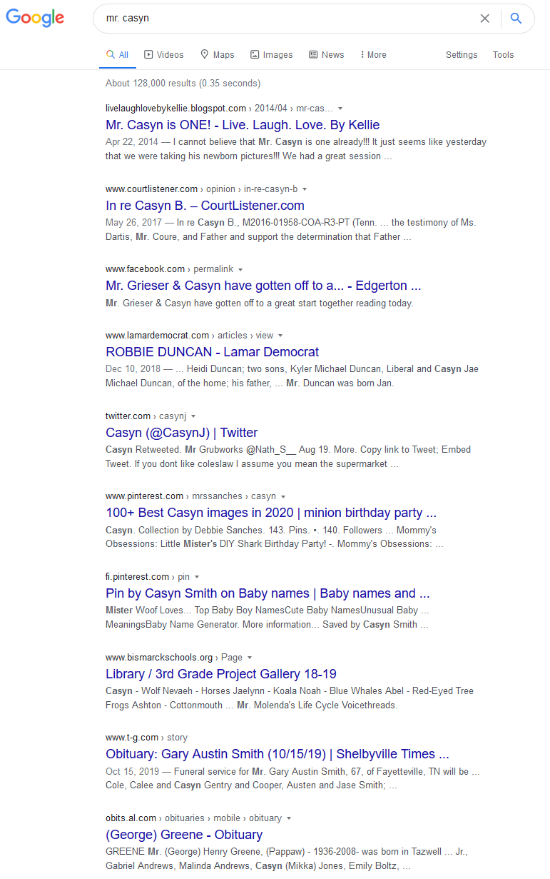 "Google search results for ""mr. casyn"""