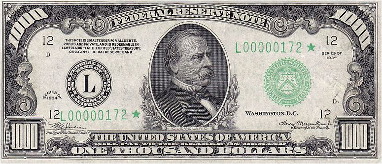 An image of the $1,000-bill, which features an image of Grover Cleveland, the 22nd and 24th U.S. president.