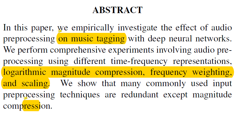 Paper Summary ] A Comparison of Audio Signal Preprocessing