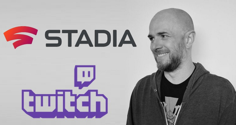 Left, the logos for Twitch and Stadia. Right, Hutchinson, smiling.