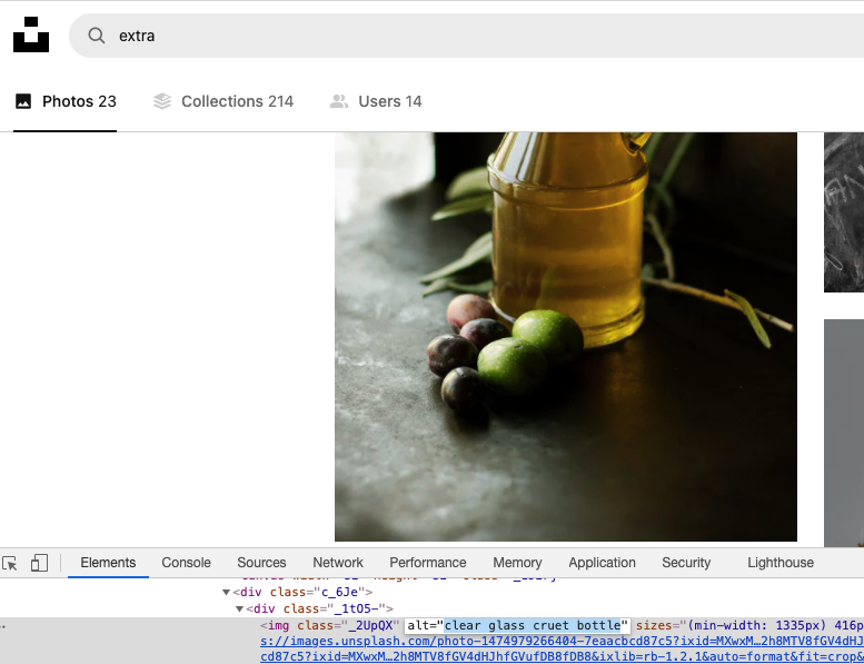 Chrome dev tools developer view of the html showing alt text for an image.