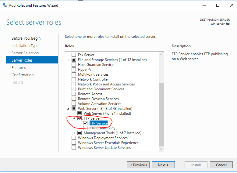 Allowing FTP access on Windows Server 2016 hosted on