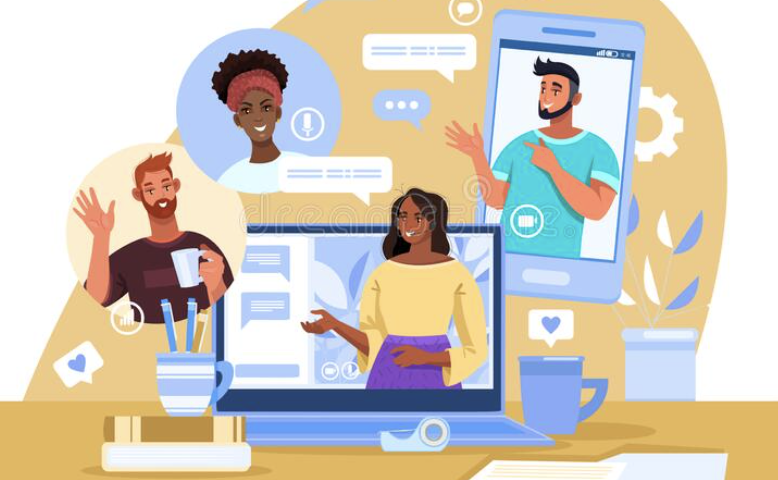 drawing of people attempting to communicate via various computer devices