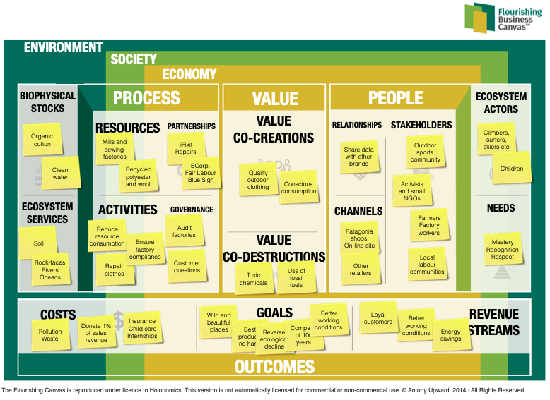 Flourishing Business Canvas—Patagonia case study from Holonomics