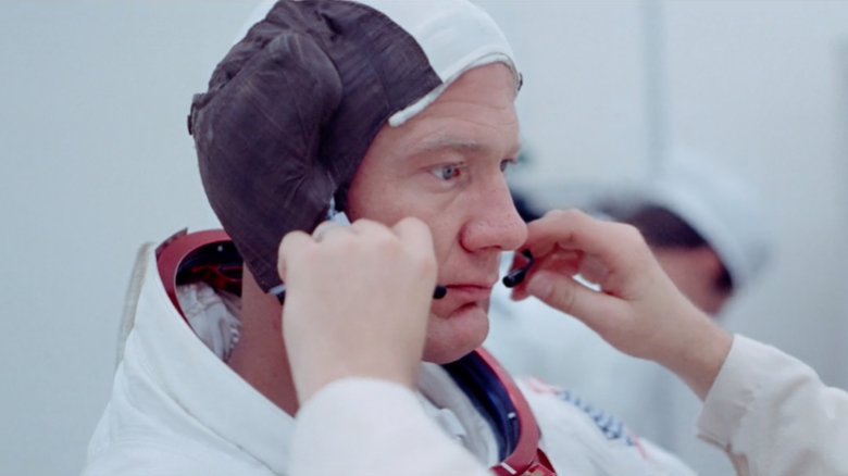 Astronaut Buzz Aldrin being prepped for launch