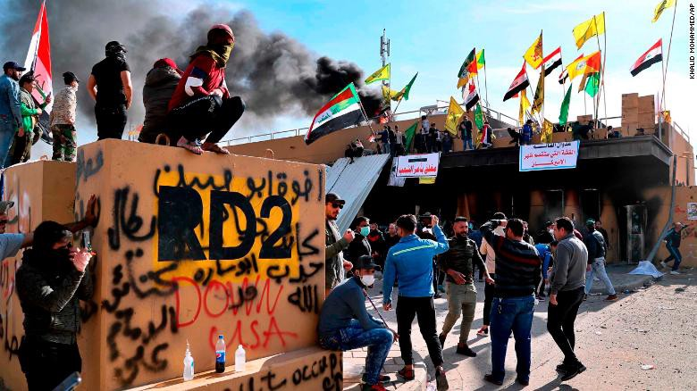 Protesters attack the US embassy in Iraq