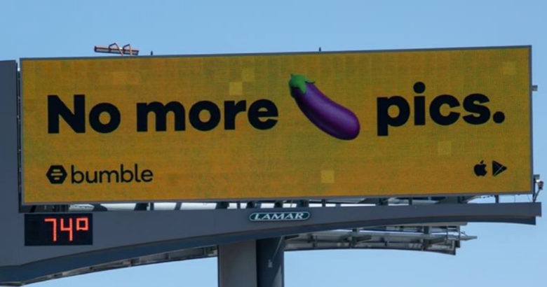 """Bumble advertisement for explicit image detector promising """"no more dick pics."""""""