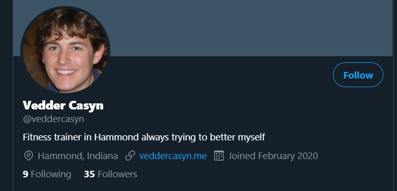 A screenshot of Vedder Casyn's Twitter profile