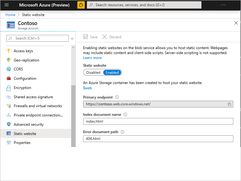 """A screenshot of the Azure portal with the """"Static website"""" blade selected and the toggle set to enabled. There is a note saying that a storage container has been created at """"$web"""""""