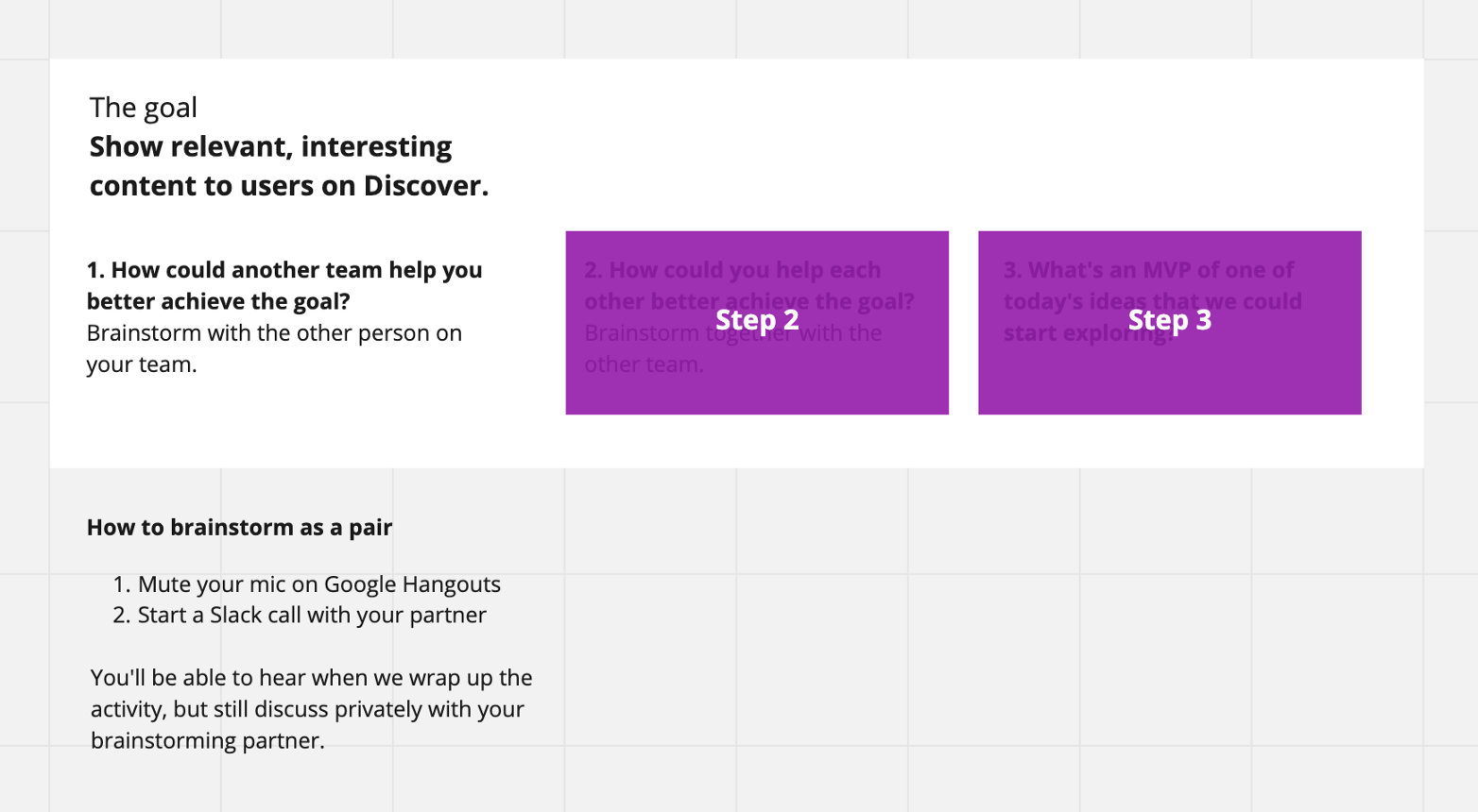 Screenshot of activity instructions on a Miro board. Two of the activities are covered up with purple rectangles to hide them