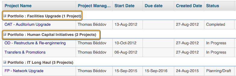 Portfolio-wise Number of Projects - KPI for Project Manager