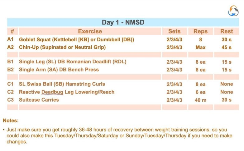 resistance training terminology program example