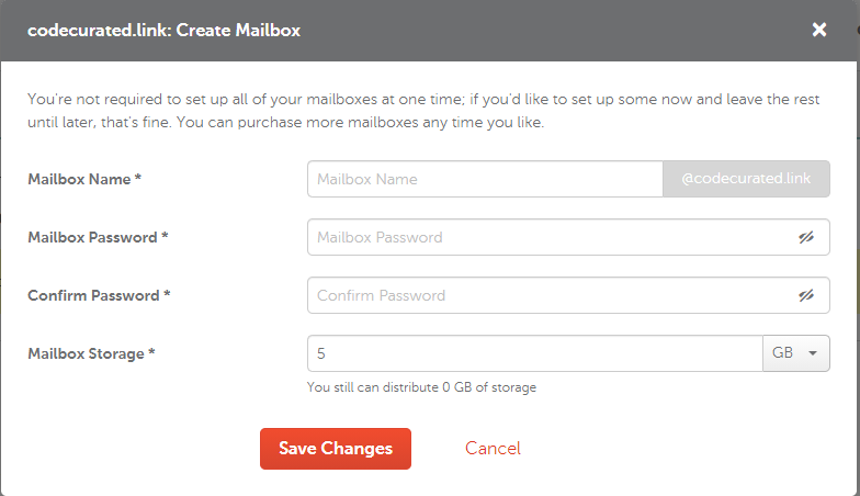 Create mailbox form on Namecheap for self-hosted Ghost