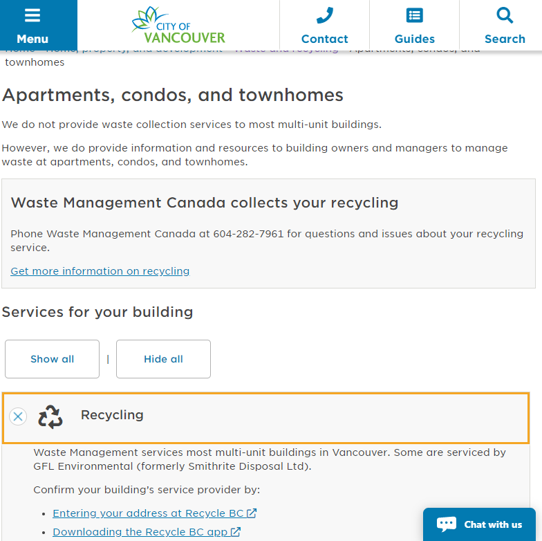 Screenshot of the City of Vancouver Recycling page for Apartments, condos, and townhomes.