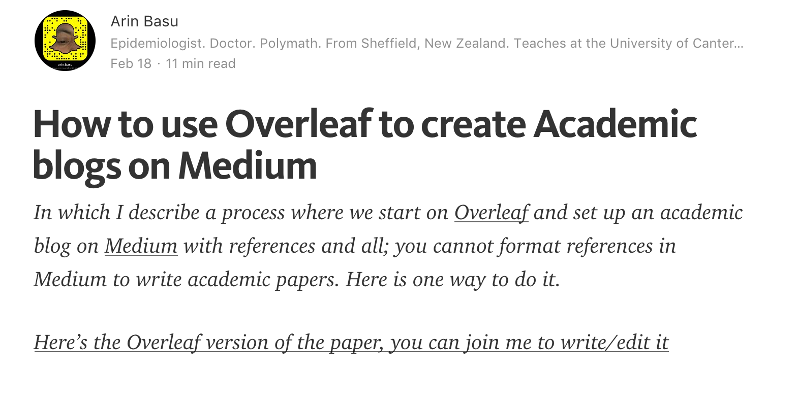 How to use Overleaf to create Academic blogs on Medium