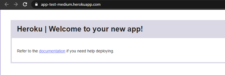 Your newly created Heroku app