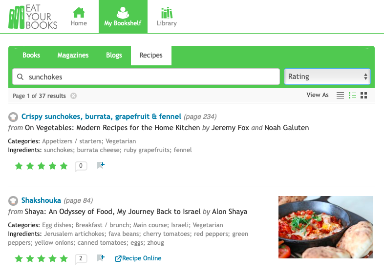 Eat Your Books online recipe search engine interface