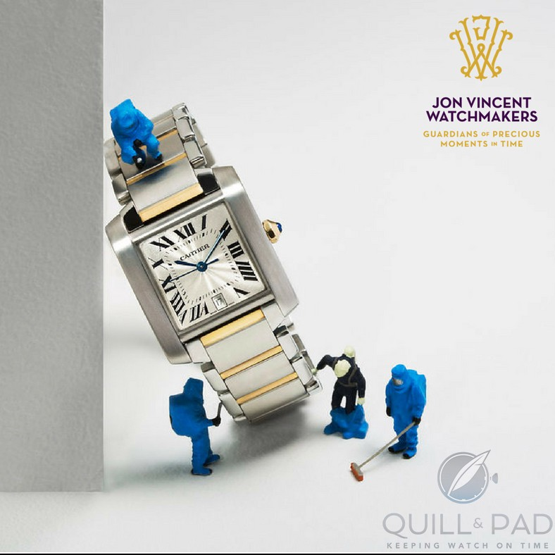 Mini watchmakers cleaning a Cartier Tank, those links are a a nightmare (photo courtesy Susan Castillo/Jon Vincent Watchmakers)