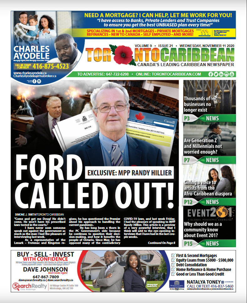 """The cover of Toronto Caribbean Newspaper from Nov. 11: """"EXCLUSIVE: MPP RANDY HILLIER, FORD CALLED OUT!"""""""