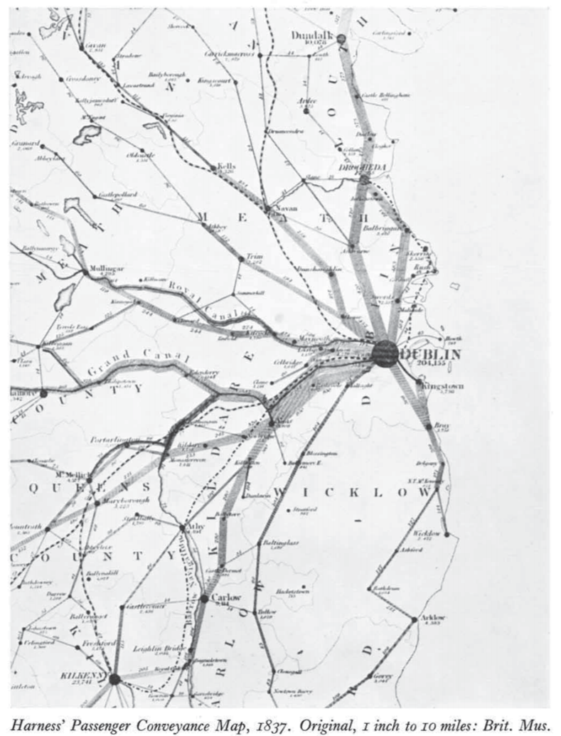 Original flow map from Henry Drury Harness in 1837 showing train usage in Ireland. Taken from: http://www.complexcity.info/fi