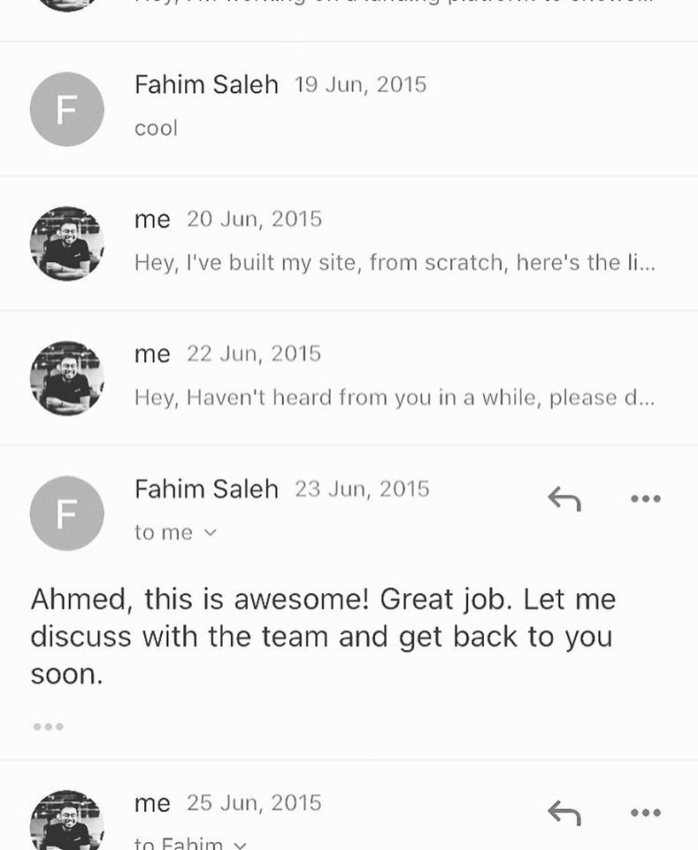 Email correspondence at the time. Notice the dates.