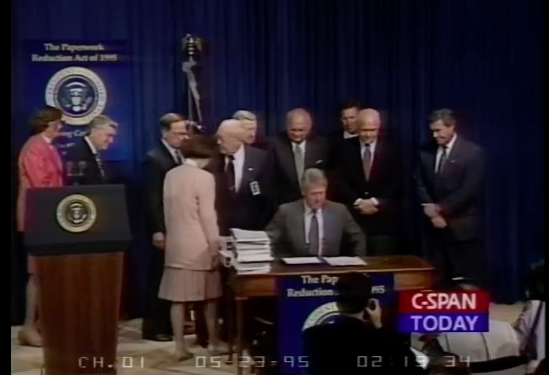 President Clinton signing the Paperwork reduction act