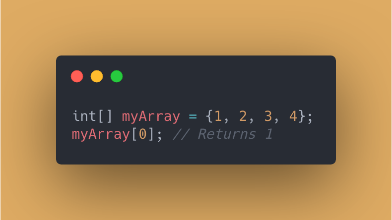 Java code showing an array