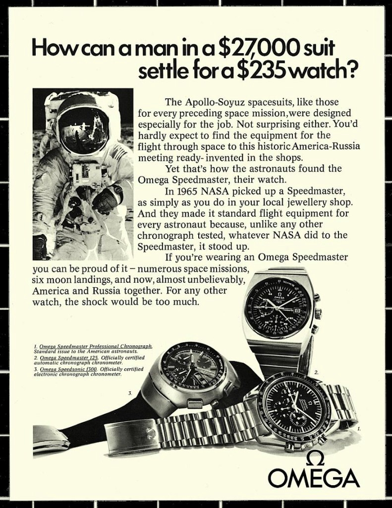 """Omega's clever vintage """"How could a man in a $27,000 suit wear a $235 watch?"""" advert"""