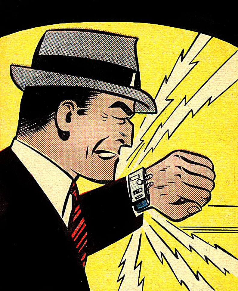 An original comic book rendering of Dick Tracy interacting with his watch-phone.