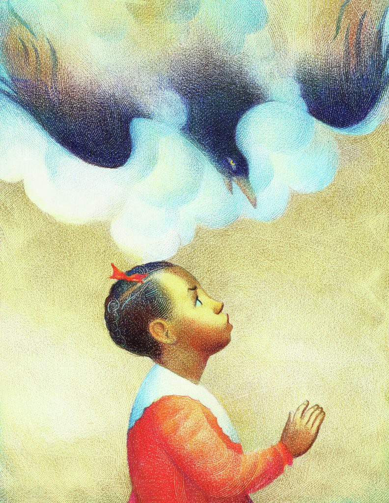 A young black girl looks up as a large black bird swoops down over her.