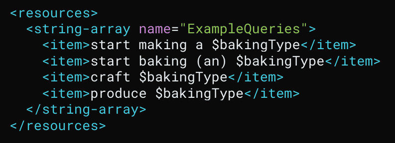 Code snippet of query patterns