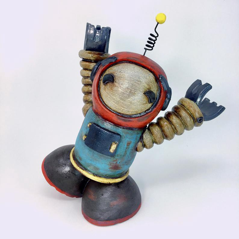 Ceramic robot sculpture.