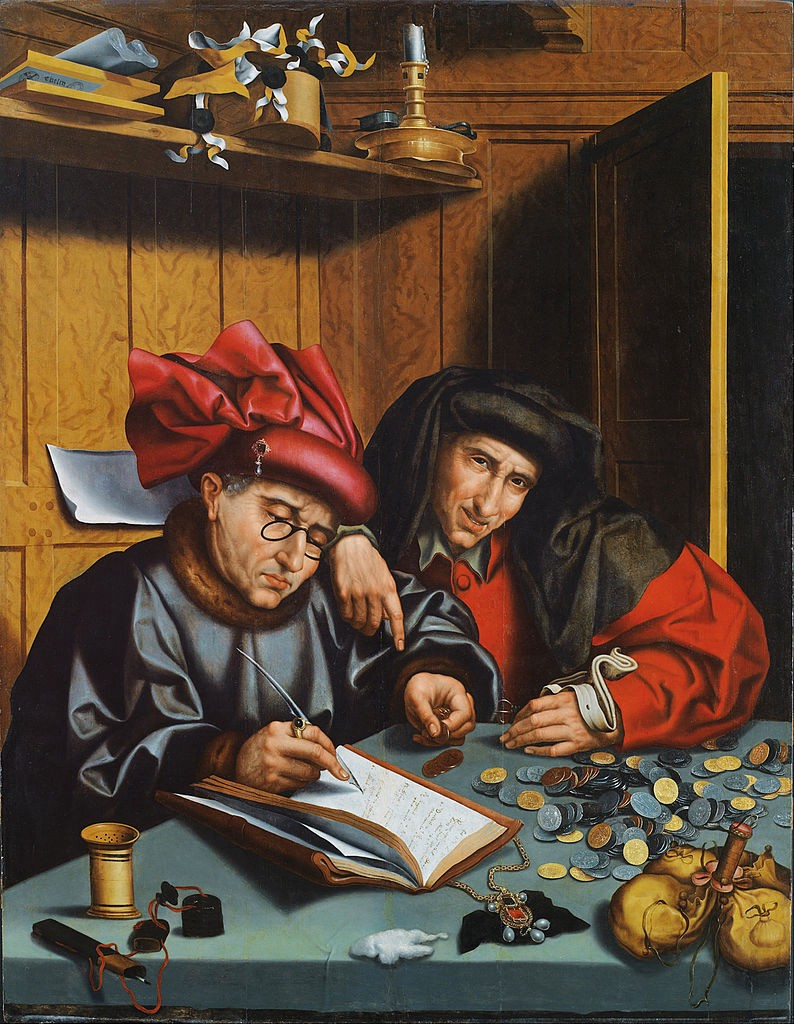 painting of two Renaissance money lenders