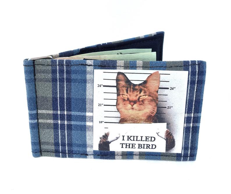Wallet with cat graphic.