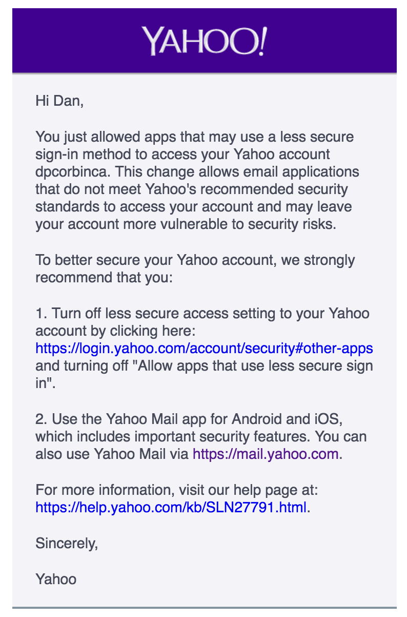 "Yahoo's ""Less Secure App"" Setting - Context IO"