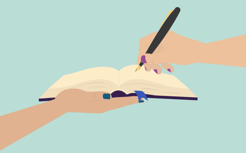 Schematic of pen on a book