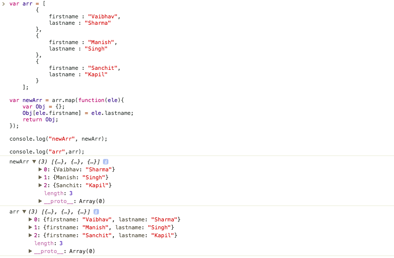 javascript for loop object attributes
