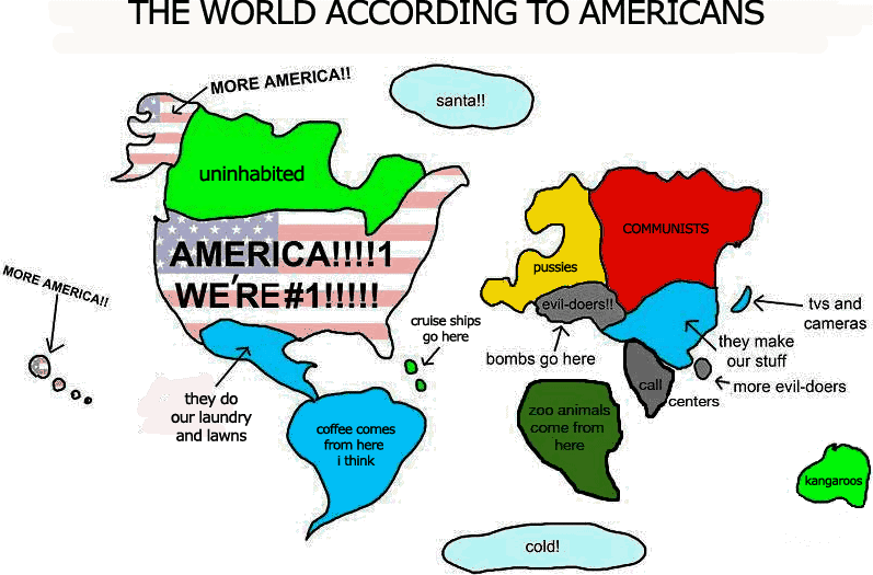 Cartoon graphic of Americans' ignorant labeling of other parts of the world